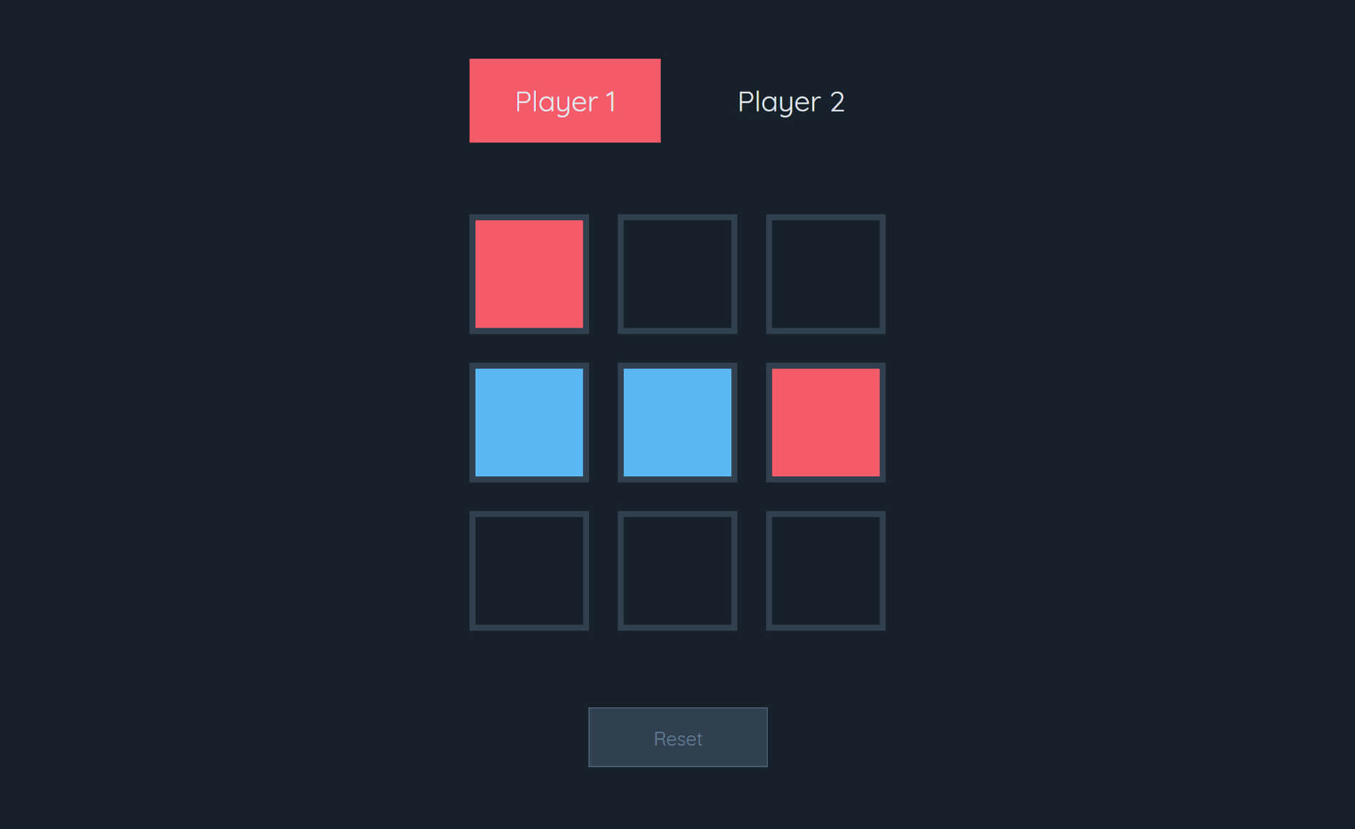 Tic Tac Toe project screenshot